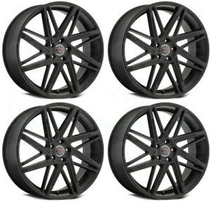 22x9 Milanni 9062 Blitz 5x114 3 38 Satin Black Wheels Rims Set 4