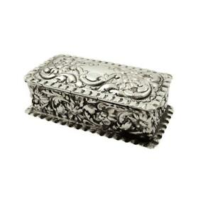 Antique Edwardian Sterling Silver Ring Box 1903