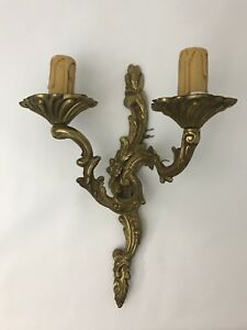 Vtg Italian Ornate Brass Wall Sconce Light Lamp 2 Arm Candle Victorian Electric