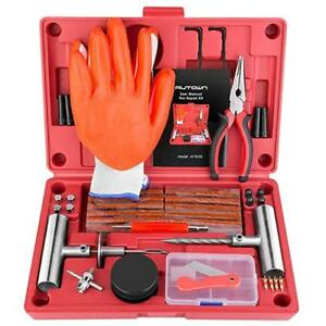 Tire Repair Kit 74 Pc Heavy Duty Car Truck Plugs Tools Patch Glue Flat Puncture