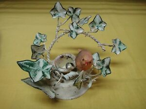Vtg Italian Metal Toleware Bird And Ivy Candle Holder