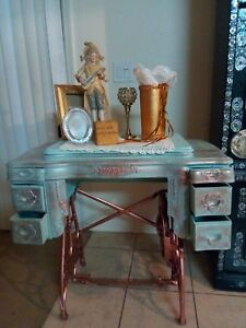 Vintage 1914 White Usa Treadle Re Purposed Sewing Machine Cabinet