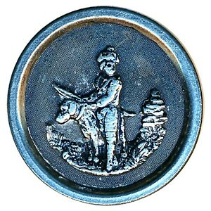 Button Late 19th C Pewter Outdoors Man With Huge Dog In White Metal Rim