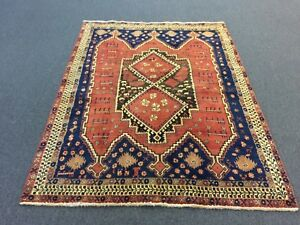 On Sale Semi Antique Genuine Hand Knotted Persian Area Rug Carpet Geometric 5x7