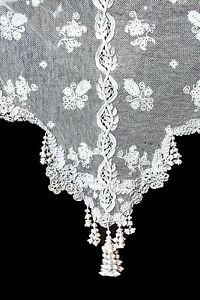 Antique Fabulous Tambour Net Fancy Ornate Lacework Bed Cover W Knot Tassels