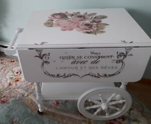 Shabby Chic French Country Tea Serving Cart W Double Drop Leaves Tray Drawer