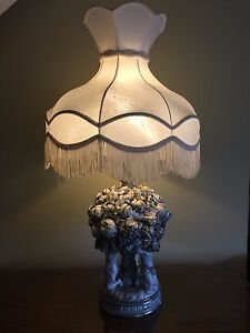 Rare Large Antique Italian Porcelain Cherubs Putti Garlands Fruits Table Lamp