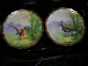 Pair Of Antique Hand Painted Signed Barbet Limoges Bird Plates Chargers 9