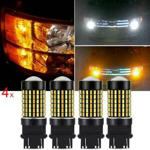 4x Auxito 3157 4157na Led Switchback White Amber Signal Parking Led Bulbs 120smd