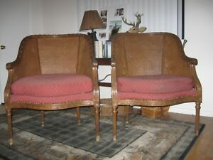 French Provintial Cane Backed Brown Chairs Maroon Acent 2