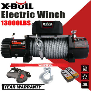 X Bull 12v 13000lbs Electric Winch Steel Cable Offroad Jeep Truck Towing Trailer