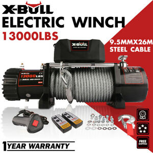 X bull13000lbs 12v Electric Winch Steel Cable Offroad Jeep Truck Towing Trailer