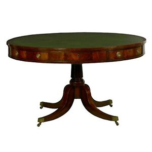 English Antique Drum Table In Mahogany Green Leather Regency Round Circular