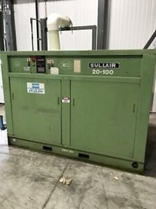 100 Hp 110 Psi 490 Acfm Sullair Rotary Screw Air Compressor With Dryer