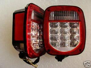 Universal Clear Led Tail Lights Truck Trailer Jeep New