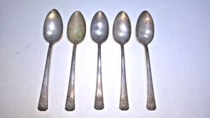 5 Wm Rogers Is Int Silver Mountain Rose Silverplate Place Spoons