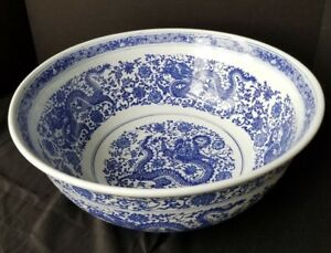 Chinese Blue And White Porcelain Dragon Bowl 16 Qianlong Mark