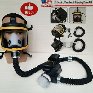Electric Constant Flow Supplied Air Fed Full Face Gas Mask Respirator us Stock