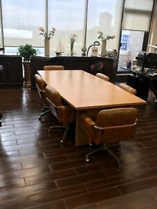 8 0 Foot Conference Table In Oak Color Including 8 Leather Chairs