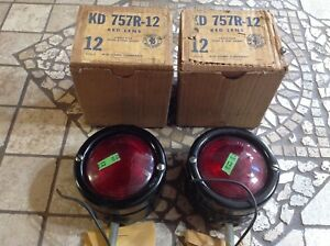Nib Pair Turn Lamps Red Glass Ls 370 Vp 581 12v Kd 757r 12 Truck Bus Early Old
