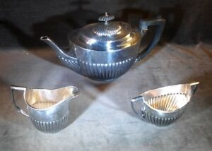 Hon Soni Old Sheffield Tea Service Set Cup Pot Cream Silver Plated Ms53