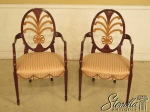 L43938b Pair Karges Sheraton Mahogany Paint Decorated Arm Chairs