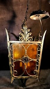 Vtg Art Deco Victorian Gothic Metal Chandelier Ceiling Light Amber Glass Ms4