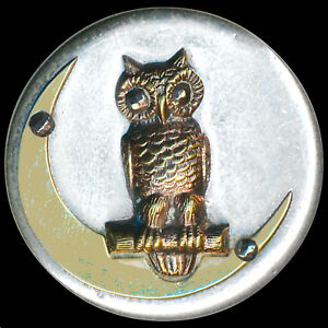 Button Large Vintage Bright White Metal And Brass Owl On Crescent Moon