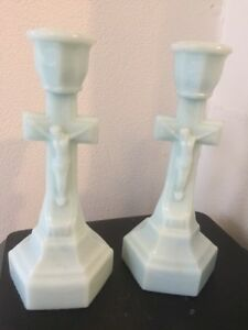 Pair Of Sandwich Glass Crucifix Candlesticks 1900 S Clean Rare Color