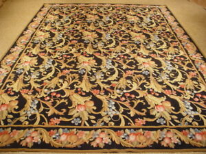 Needlepoint Black Flat Woven 9 X 12 All Over Floral English Garden Rug