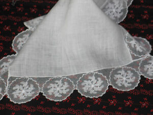 Gorgeous Antique Vtg Embroidered Net Lace Hanky Wedding Handkerchief Nos