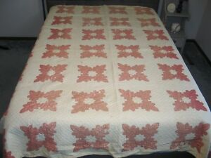 Rustic Antique 1800s Oak Leaf Quilt Princess Feather Quilt Hand Applique Quilt