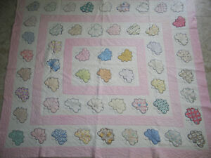 Antique Vintage Butterfly Quilt Hand Quilted Applique Embroidery 1930s Feedsack