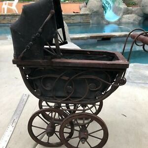 Antique Baby Doll Stroller Vintage Wooden Carriage Buggy Small Doll Buggy Kids