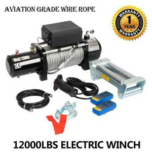 12v 12000lbs Electric Winch Towing Truck Trailer Steel Cable Off Road 4wd