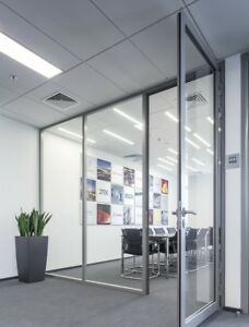 Cgp Office Partition System Glass Aluminum Wall 12 x9 W door Clear Anodized
