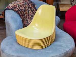 Group Of 9 Yellow Eames Fiberglass Shells For Herman Miller Sale