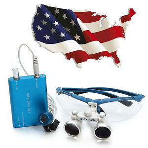 Sale Dental Surgical Medical Binocular Loupe 3 5x420mm Led Head Light Lamp Blue