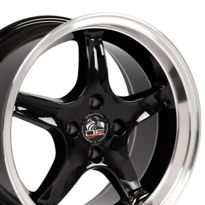 17x8 17x9 Black Cobra Style 4 Lug Wheels Set Of 4 Rims Fit Mustang Gt 79 93