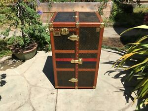 Goyard Antique Monogram Wardrobe Steamer Trunk Chest Purse Table Louis Vuitton