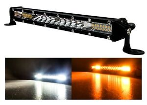 10 White Amber Ultra Slim Dual Color Changing Osram Led Light Bar Offroad 12v