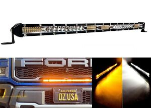 20 White Amber Ultra Slim Dual Color Changing Osram Led Light Bar Offroad 12v
