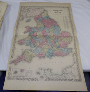 1855 Antique Colton Color Map England And Wales