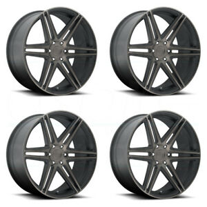 22x9 5 Dub Skillz S123 6x135 30 Black Machined Wheels Rims Set 4