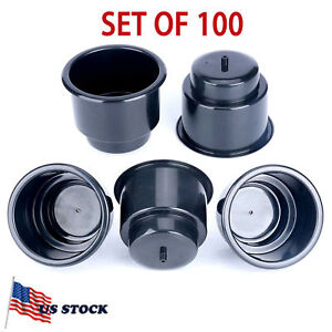 100pcs Black Recessed Drop In Plastic Cup Drink Can Holder With Drain Fast Ship