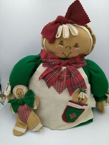 Primitive Handmade Raggedy Gingerbread Girl Dollshelf Sitter Christmas