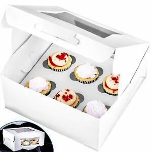 Pro quality Bakery Boxes For 6 Cupcakes With Display Window Cupcake Ins New