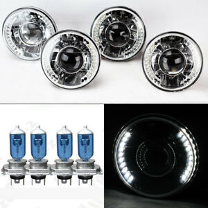 Four 5 75 5 3 4 Round H4 Clear Projector Led Drl Glass Headlights W Bulbs