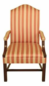 46740ec Chippendale Style Upholstered Cherry Open Arm Chair