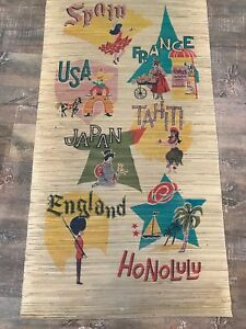 Large Vintage Straw Mat Woven Rug Wall Hanging Travel Theme 65 X35